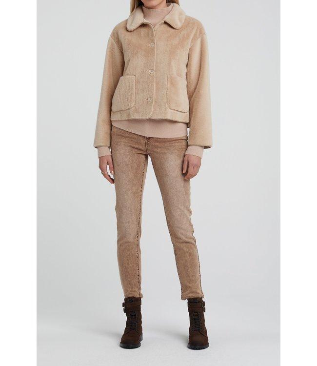 YAYA 162117 Fake fur short jacket SAND