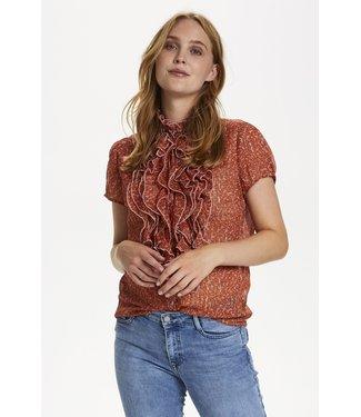 Saint Tropez 30510833 XelinaSZ Lilly SS Shirt Red Orange Puff