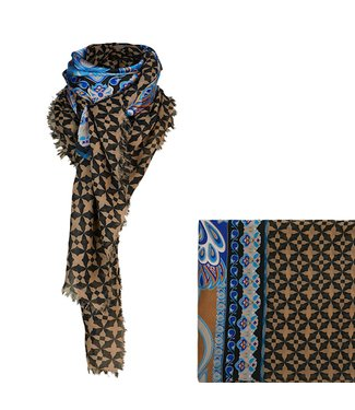 Summum Woman 8s731-11404 Scarf two colour print Walnut
