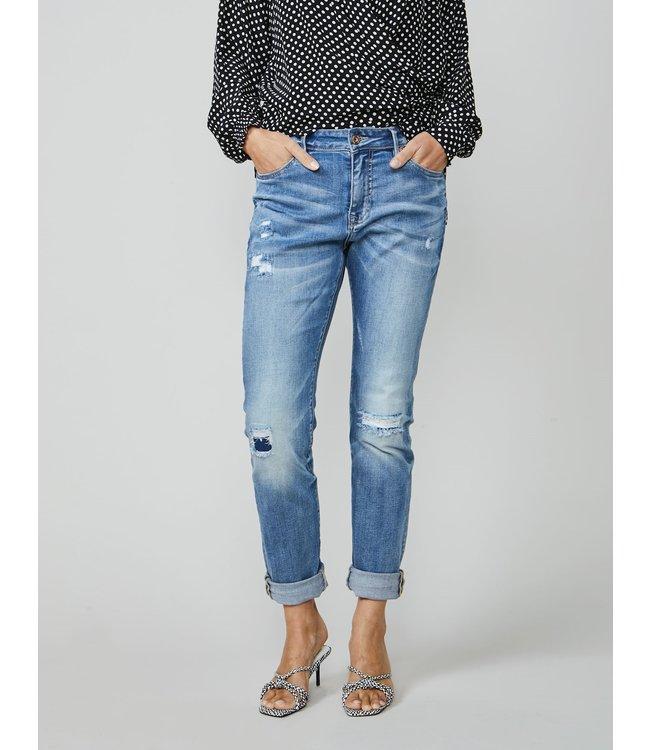 Summum Woman 4s2120-5086 Bright tapered jeans rain Bleached denim