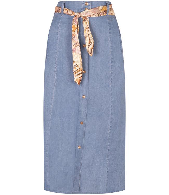 Tramontana Q06-98-201 Skirt A-line Tencel MidBlueDenim
