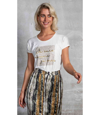 Poools 113190 T-shirt text Ivory