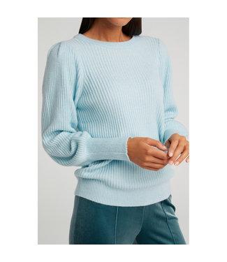 YAYA 1000413-112-sky  Sweater in a rib stitch woth balloon sleeves