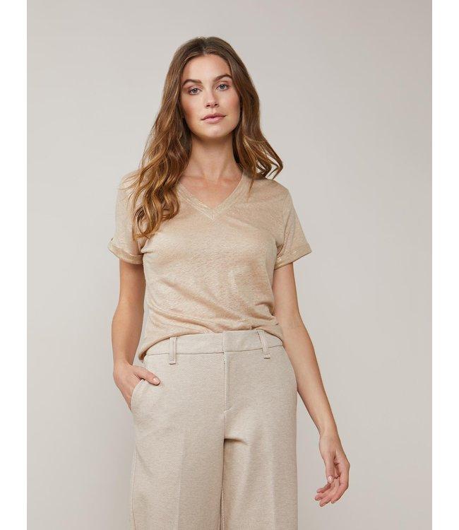 Summum Woman 3s4496-30220 Top foil coated linen jersey Alpaca