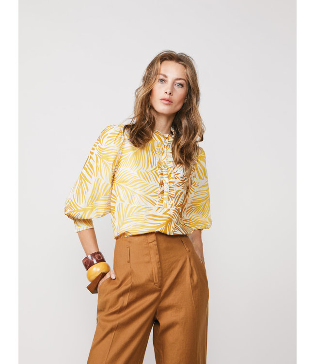 Summum Woman 2s2568-11373 Top puff sleeves palm leaves cotton Bright ochre