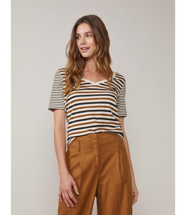 Summum Woman 3s4499-30227 Top v-neck cotton lurex stripe Black-Shell