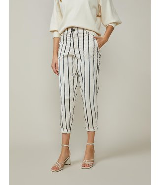 Summum Woman 4s2105-11727 Loose tapered pant striped soft cotton Ivory