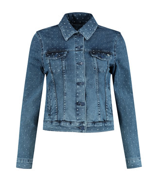 Para Mi SS211.130160 Mae Jacket  Summer Print Denim Dots Blue