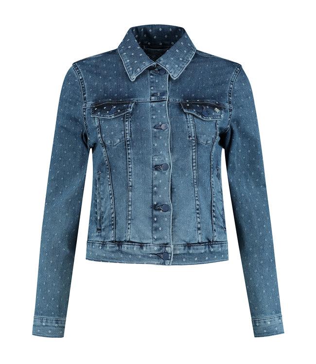 Para Mi SS211.130160 Mae Jacket  Summer Print Denim Dots Blue