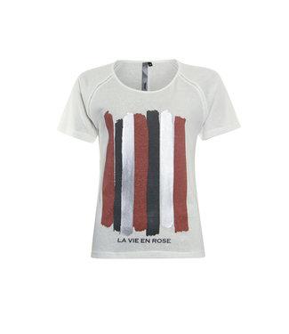 Poools 113165 T-shirt La vie Ivory