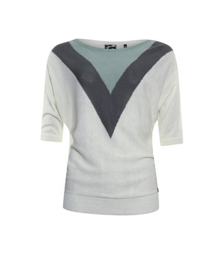 Poools 113225 Sweater contrast Misty green