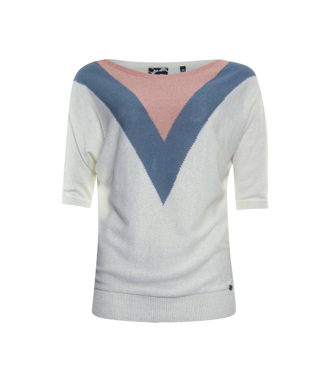 Poools 113225 Sweater contrast Ivory