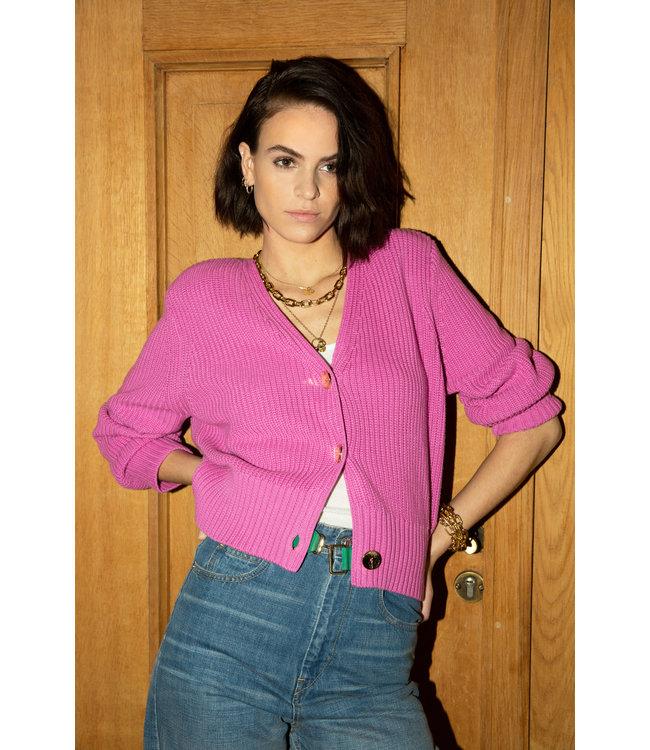 Les Favorites 8553135  Sienna cotton cardigan pink