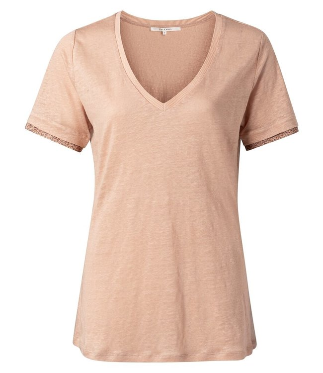 YAYA 1919168-113  V-neck tee with woven cuffs faded rose