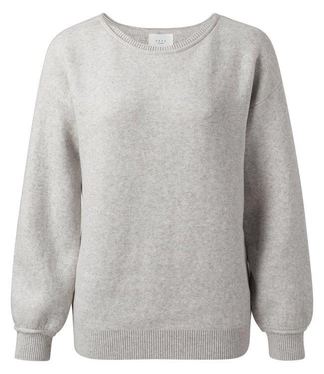 YAYA 1000397-112 Comfy boatneck sweater grey melange