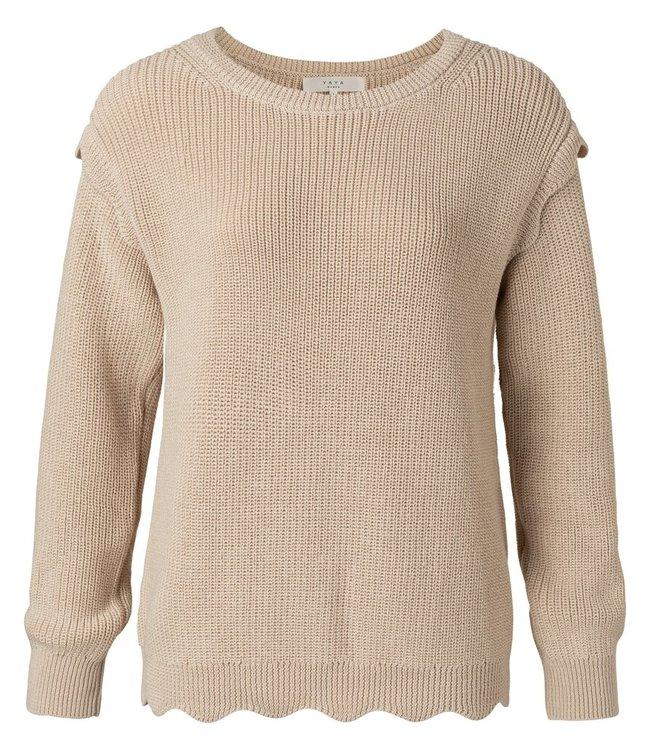 YAYA 1000415-112  Scallop edges sweater sand