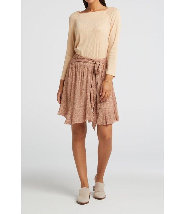 YAYA 1401132-113  Wrapped mini skirt pale peach dessin