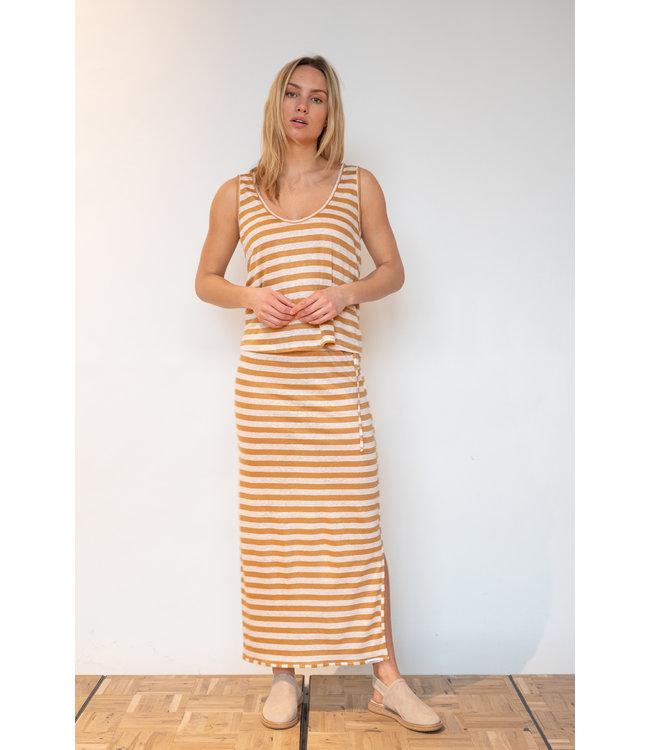 PENN&INK S21T546  Skirt stripe powder/cinnamon