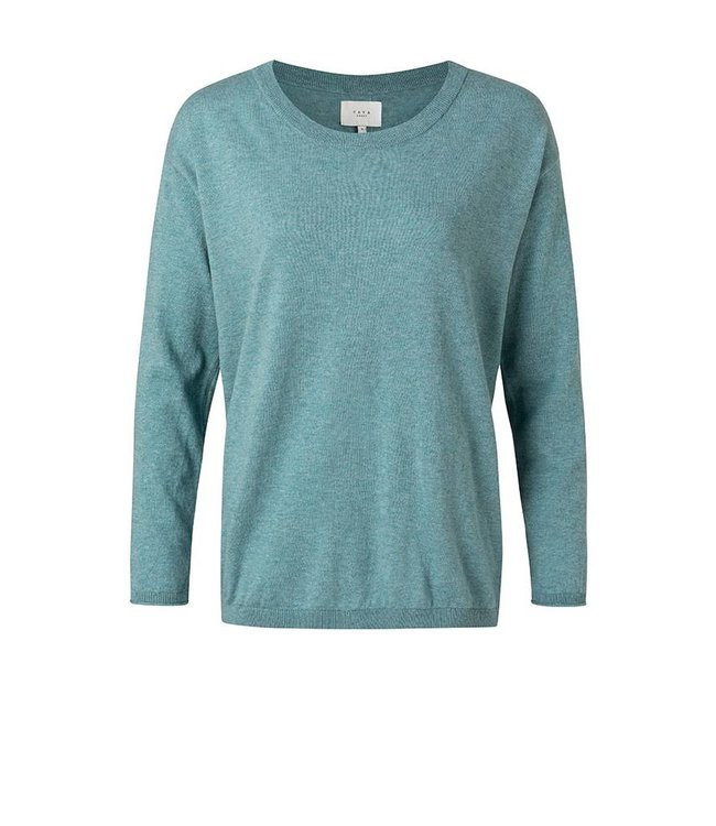 YAYA 1000217-112  Sweater with buttons in back rainy sky melange