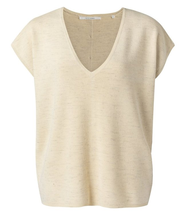 YAYA 1000420-113  V-neck sweater with buttons egg shell