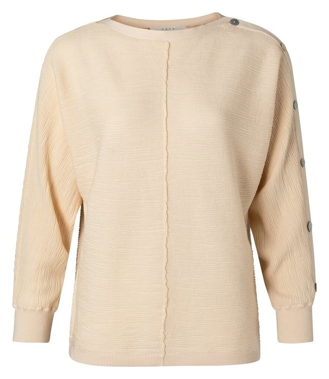YAYA 1000421-113  Textured sweater with buttons pale peach
