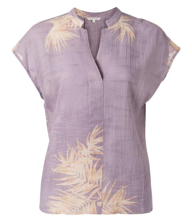 YAYA 1901421-113  Printed v-neck top Lilac dessin