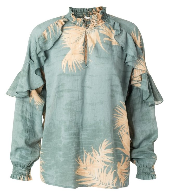 YAYA 1901418-113  Printed top with ruffles concrete blue dessin
