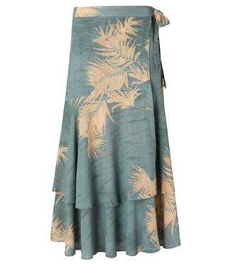 YAYA 1401136-113  Printed wrap skirt concrete blue dessin