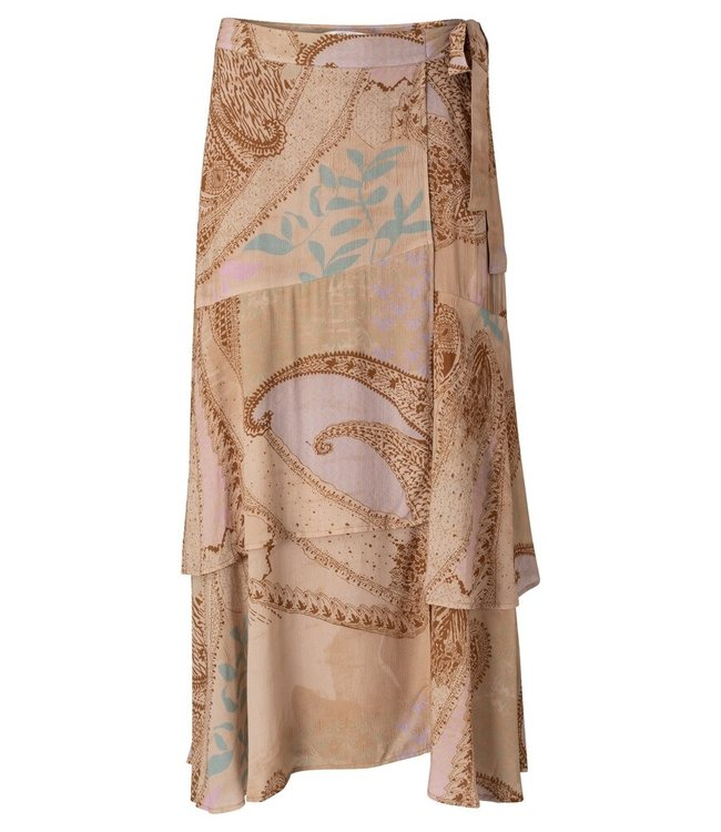 YAYA 1401133-113  Printed wrap midi skirt faded rose dessin