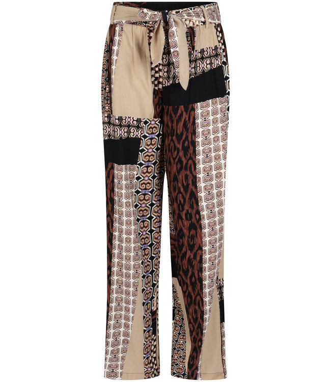 Tramontana C09-98-101 Trousers Wide Leg Mixed Graphic Print Browns