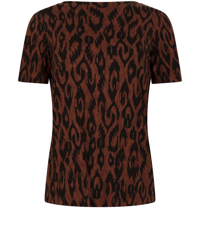 Tramontana D06-98-402 T-Shirt Reversible Ikat Print Browns