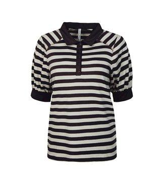 Summum Woman 3s4493-30215  Top SS lyocell cotton stripe Black