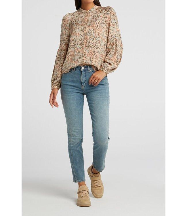 YAYA 1101215-112  Printed puff sleeve blouse Sand dessin