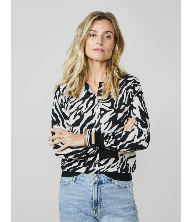 Summum Woman 7s5565-7809  Cardigan printed cotton knit