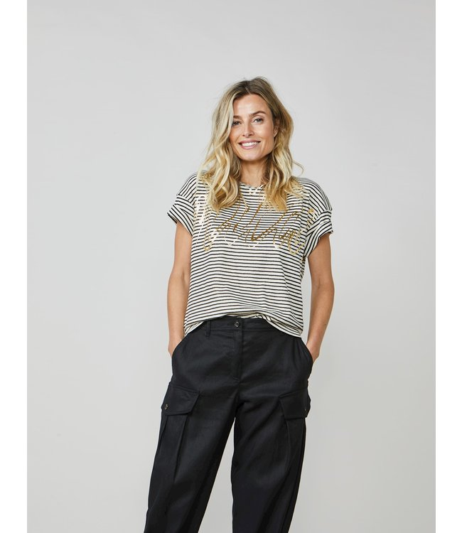 Summum Woman 3s4502-30227  Tee foil print cotton lurex stripe