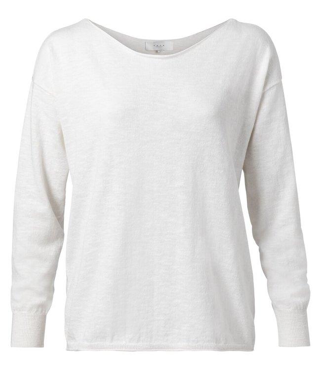 YAYA 1000289-014  Cotton cashmere blend sweater Blanc