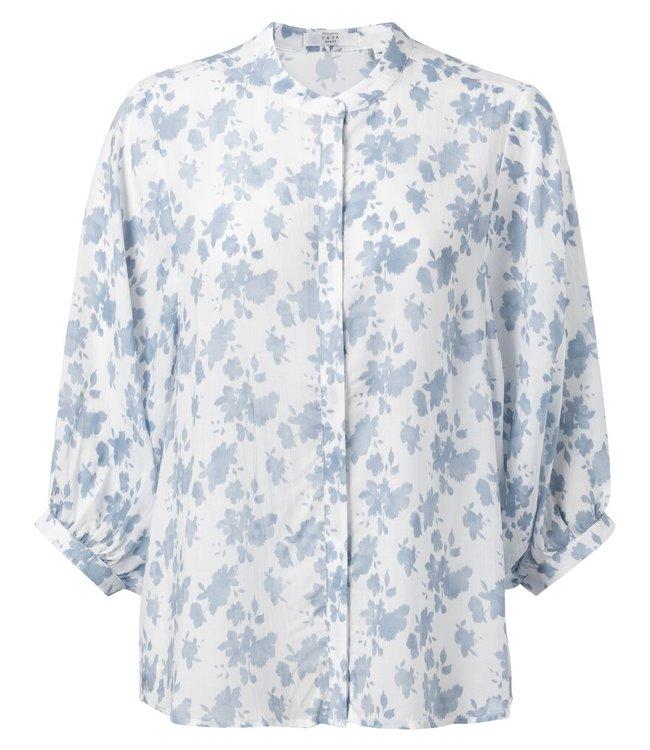 YAYA 1101170-014  Blouse woth 3/4 sleeves Blanc dessin