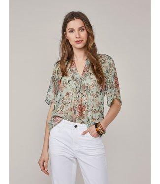 Summum Woman 2s2589-11439  Top transparant flowers Soft green