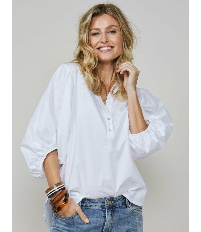 Summum Woman 2s2593-11442  Top balloon sleeves cotton white