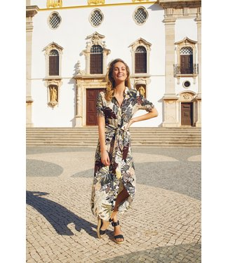 Tramontana C02-99-502  Dress knot etnic leaves print