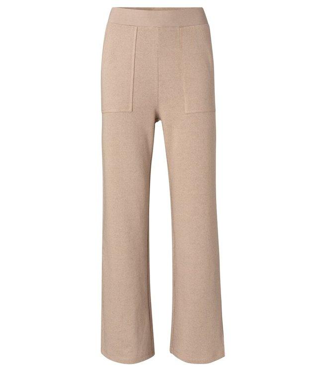 YAYA 1209125-113  Jersey wide leg trousers sand melange