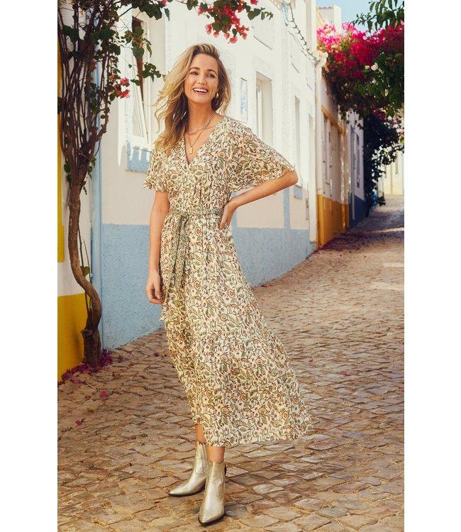 Tramontana C03-99-501  Dress maxi flower print mix  Greens