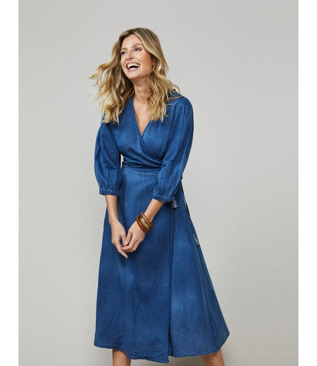 Summum Woman 5s1234-11399  Dress bwrap cotton indigo sateen