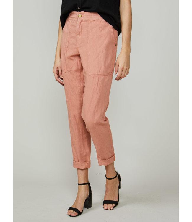Summum Woman 4s2134-11433  Loose tapered pants linen cotton Ash rose