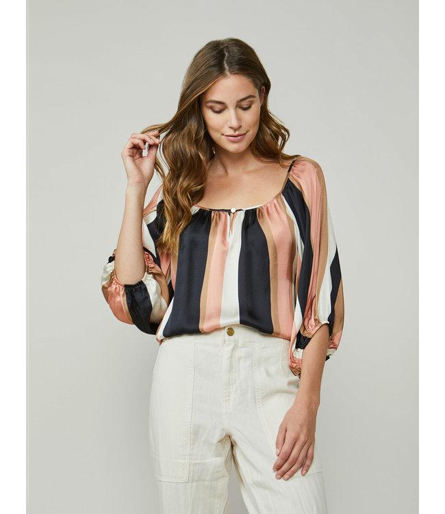 Summum Woman 2s2606-11446  Top balloon sleeves wavy stripes