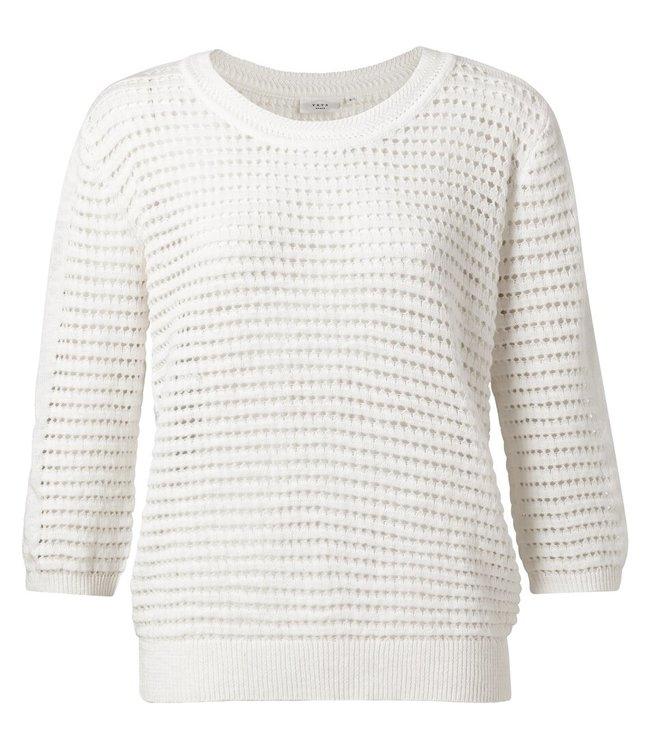 YAYA 1000288-114  Structure  knitted sweater White