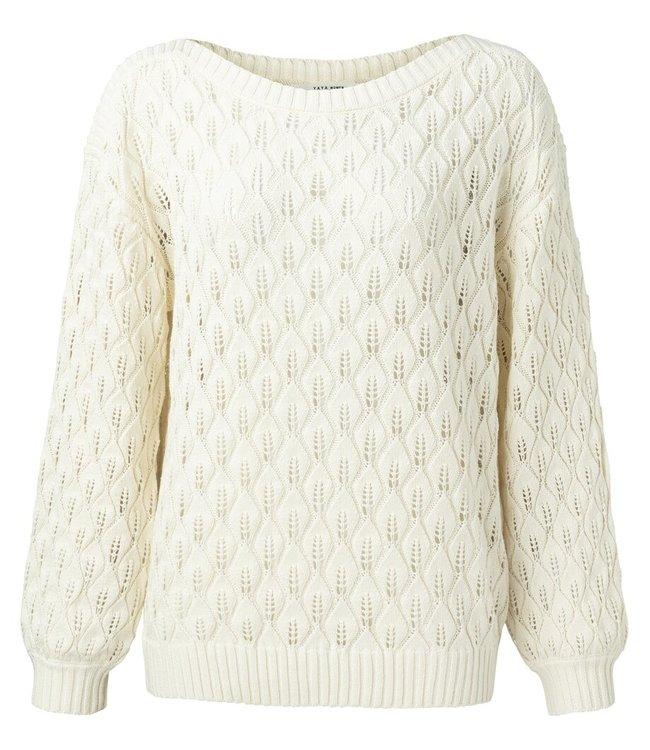 YAYA 1000446-115  Pointelle knitted sweater boatneck Sand
