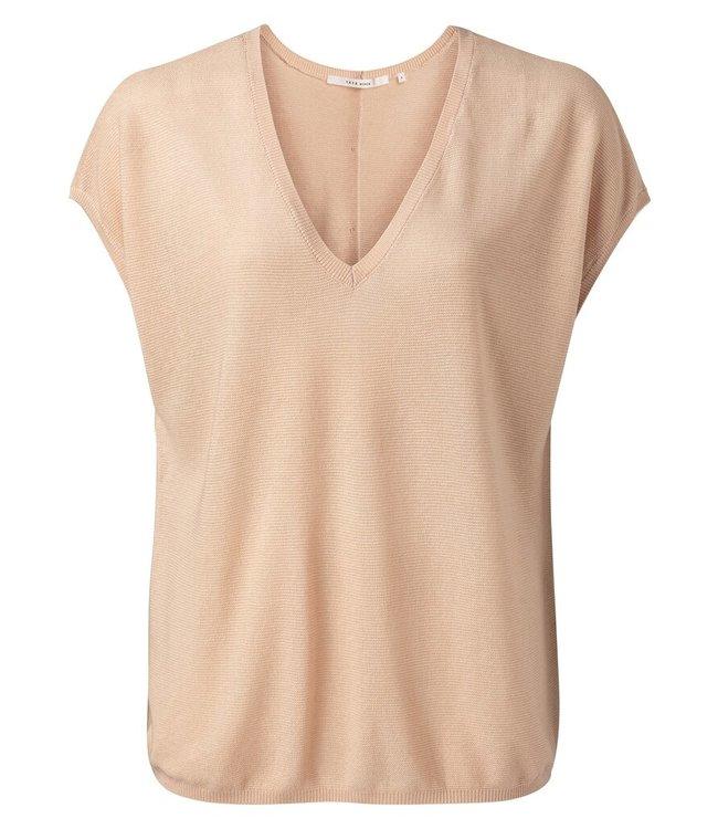 YAYA 1000453-115  V-neck silk blend sweater Frappe