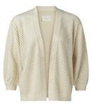 YAYA 1010125-115   Mesh stitch cardigan with fancy rib Sand