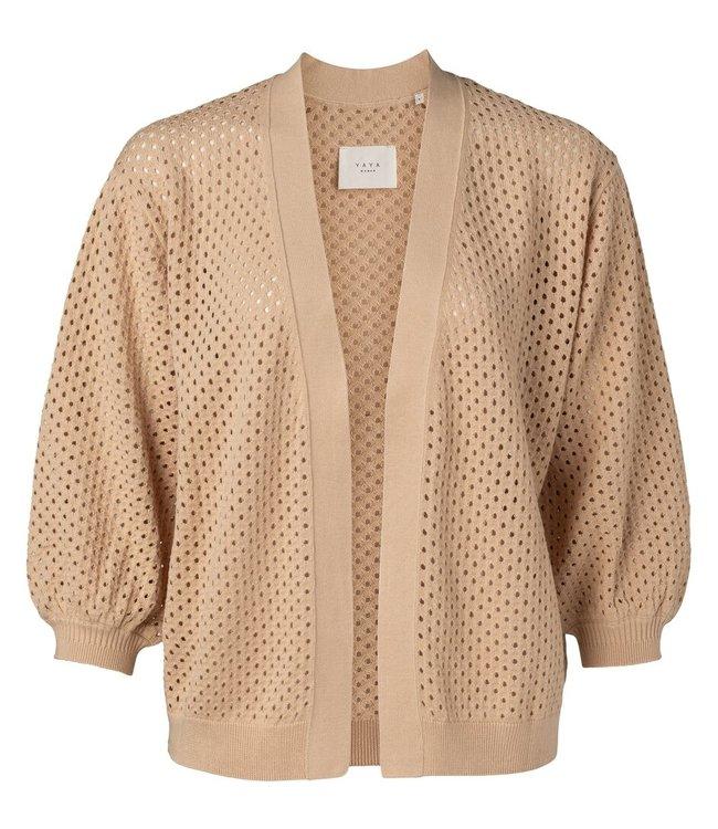 YAYA 1010125-115   Mesh stitch cardigan with fancy rib Frappe